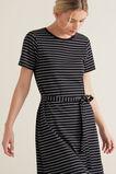 Asymmetric Jersey Dress  BLACK/CREAM STRIPE  hi-res