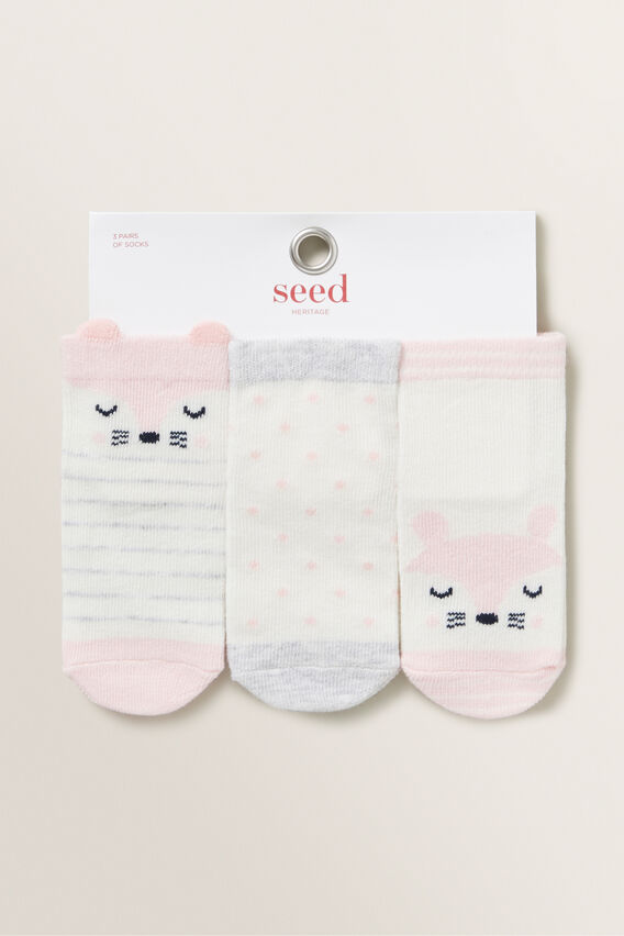 3 Pack Fox Socks  MARSHMALLOW  hi-res