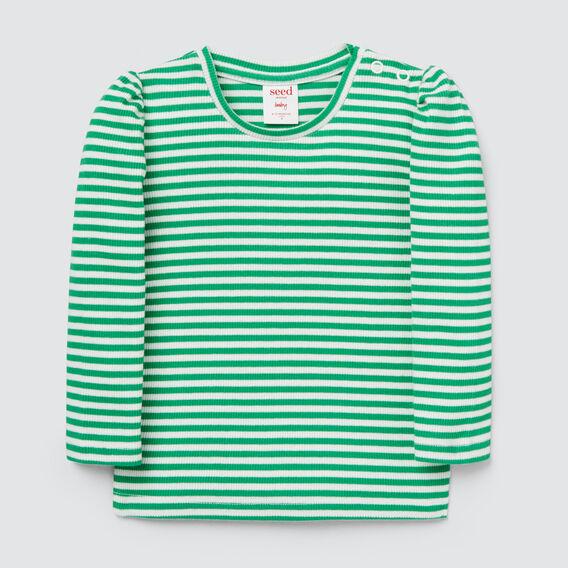 Puff Sleeve Tee  APPLE GREEN/CANVAS  hi-res