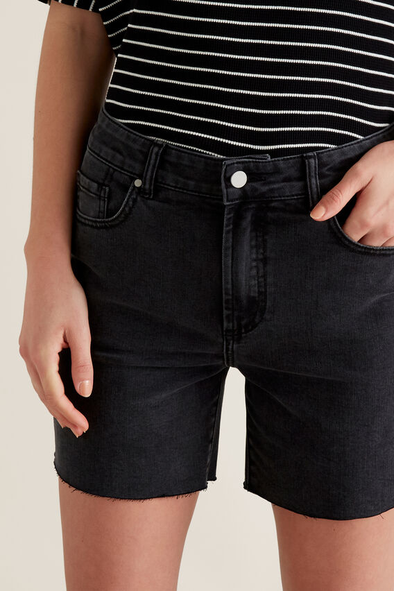 Frayed Denim Short  WASHED BLACK  hi-res