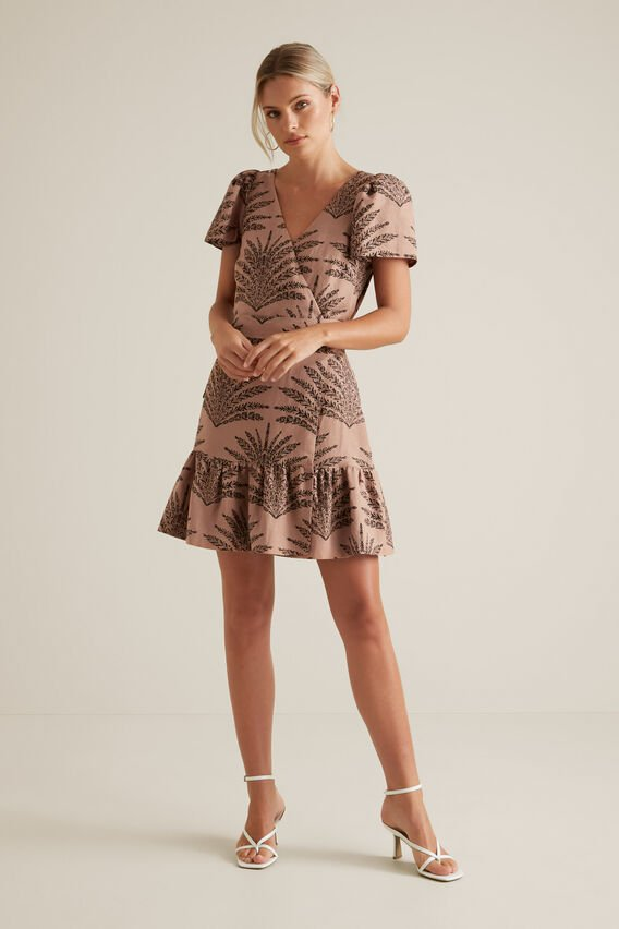 Linen Blend Wrap Dress  PAISLEY PALM  hi-res