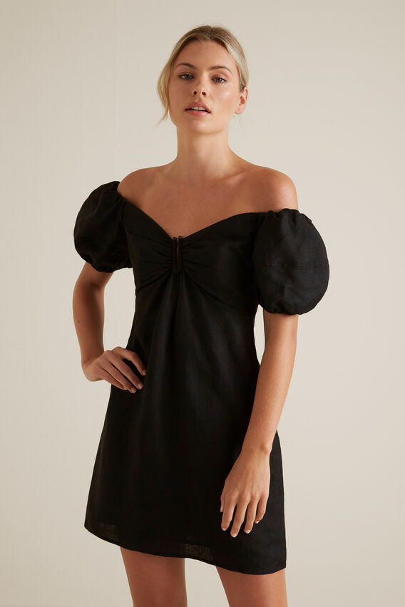 Off Shoulder Mini Dress  BLACK  hi-res