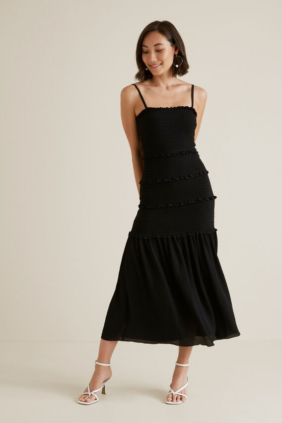 Shirred Maxi Dress  BLACK  hi-res