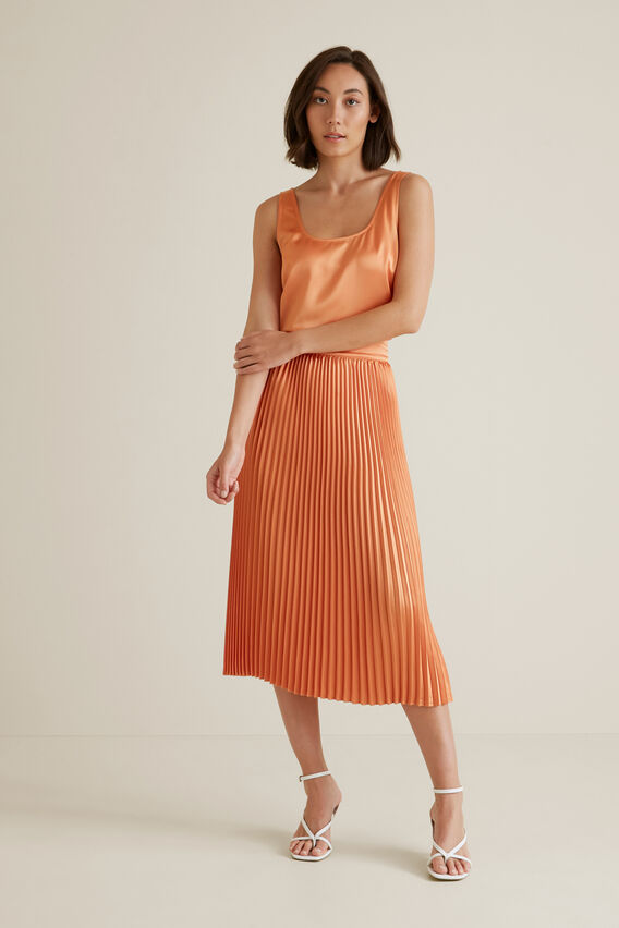 Pleat Midi Skirt  SOFT CORAL  hi-res