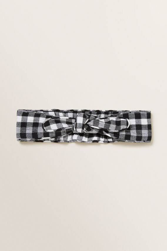Gingham Woven Headband  BLACK  hi-res