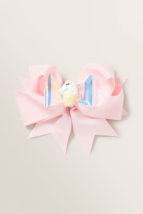 Unicorn Ice Cream Bow Duck Clip  PINK  hi-res
