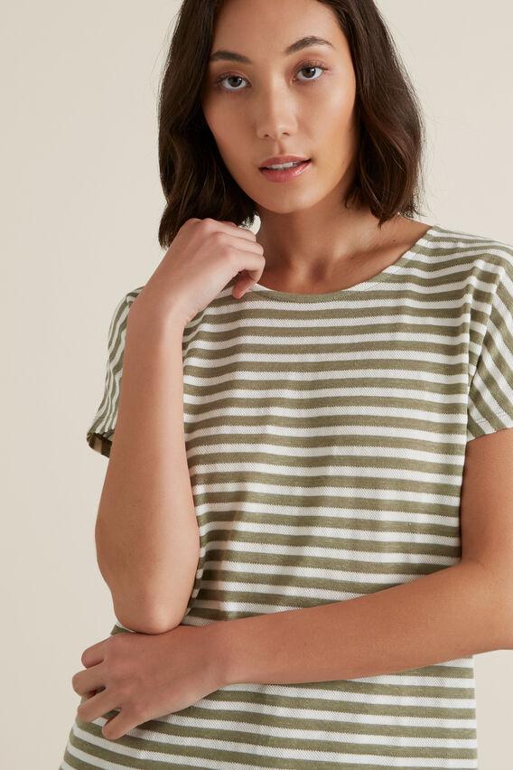 Textured Striped T-Shirt  WASHED OLIVE STRIPE  hi-res