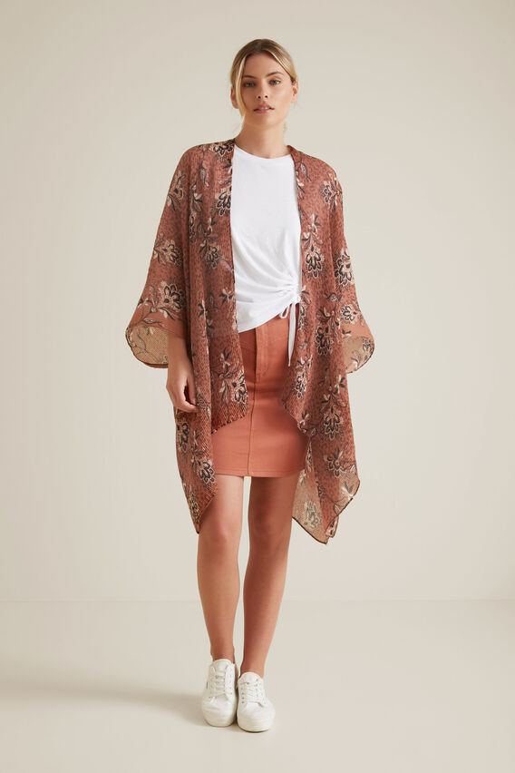 Pleated Summer Poncho  RED DESERT  hi-res