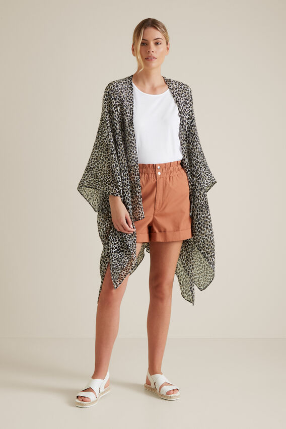 Pleated Summer Poncho  SOFT KHAKI  hi-res