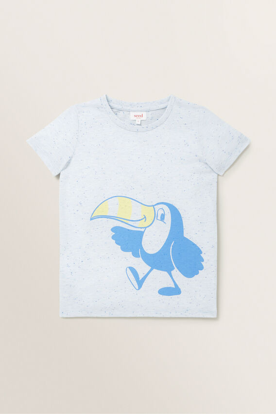 Toucan Print Tee  BLUE SPECKLE  hi-res