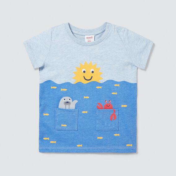 Novelty Pockets Tee  SLEEPY BLUE MARLE  hi-res