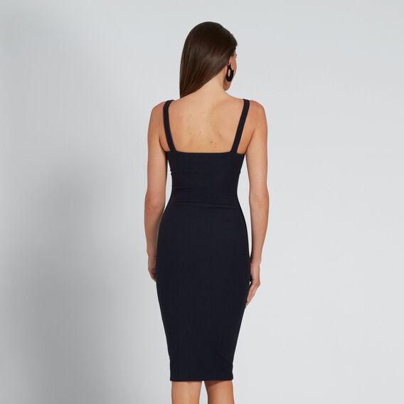 Tie Up Textured Dress  DEEP NAVY  hi-res