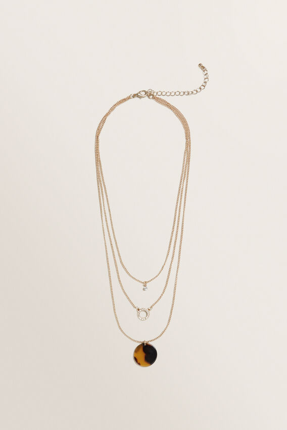 Layered Diamante Necklace  GOLD  hi-res