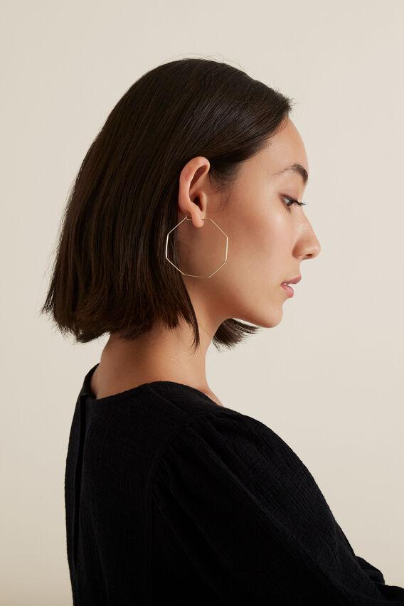 Octagon Hoop Earrings  GOLD  hi-res