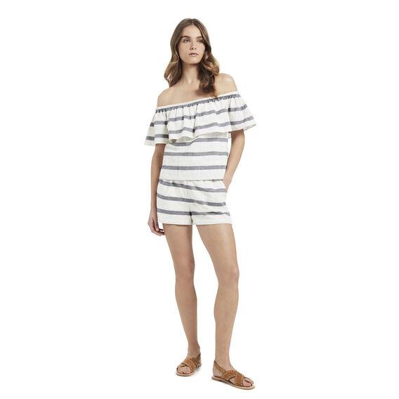 Off Shoulder Lace Hem Top  DEEP NAVY/WHT STRIPE  hi-res