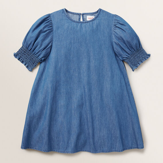 Shirred Chambray Dress  BRIGHT INDIGO  hi-res