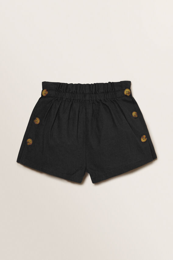 Linen Button Shorts  BLACK  hi-res