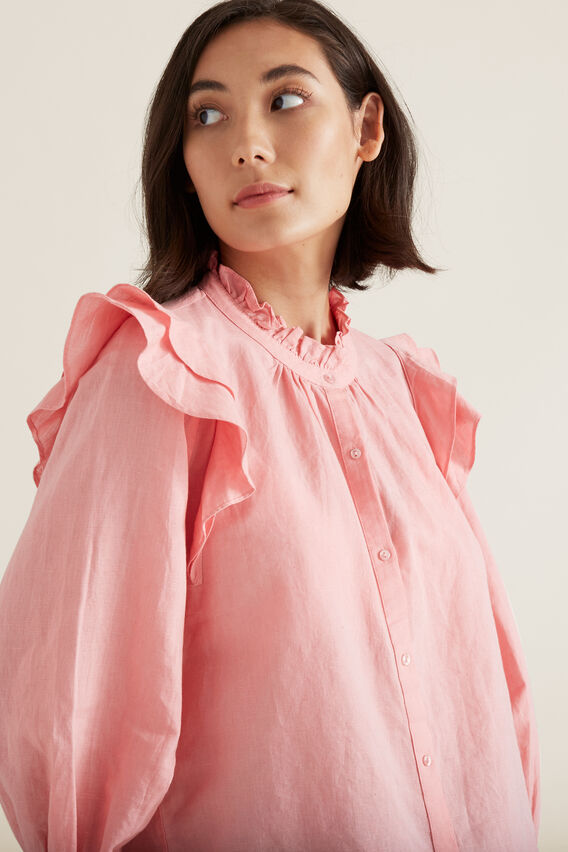 Frill Detail Shirt  CARNATION PINK  hi-res