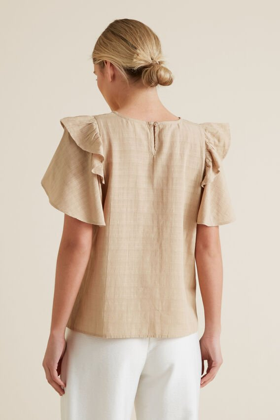 Frill Sleeve Check Blouse  TUSCAN BROWN  hi-res