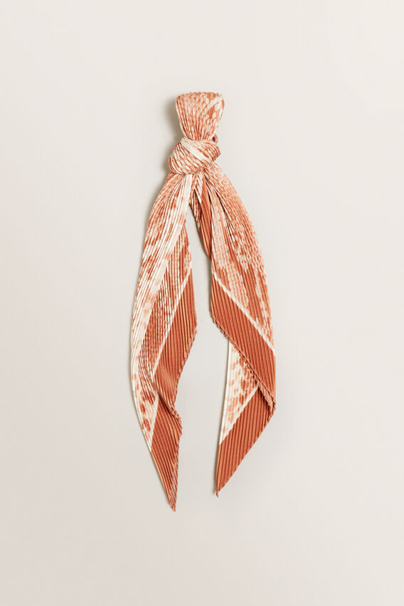 Pleated Square Neck Scarf  SNAKE  hi-res