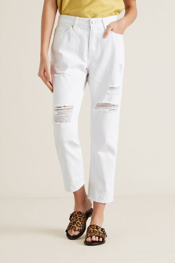 Distressed Jean  WHITE  hi-res