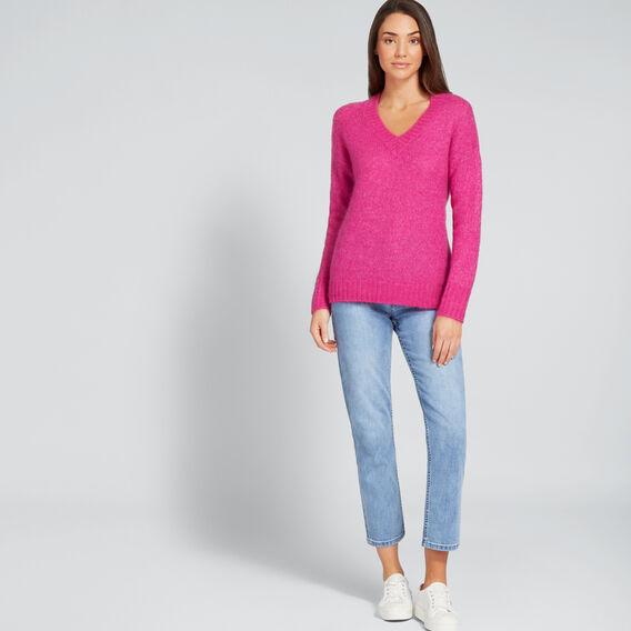 V Neck Neat Sweater  BOLD FUCHSIA  hi-res