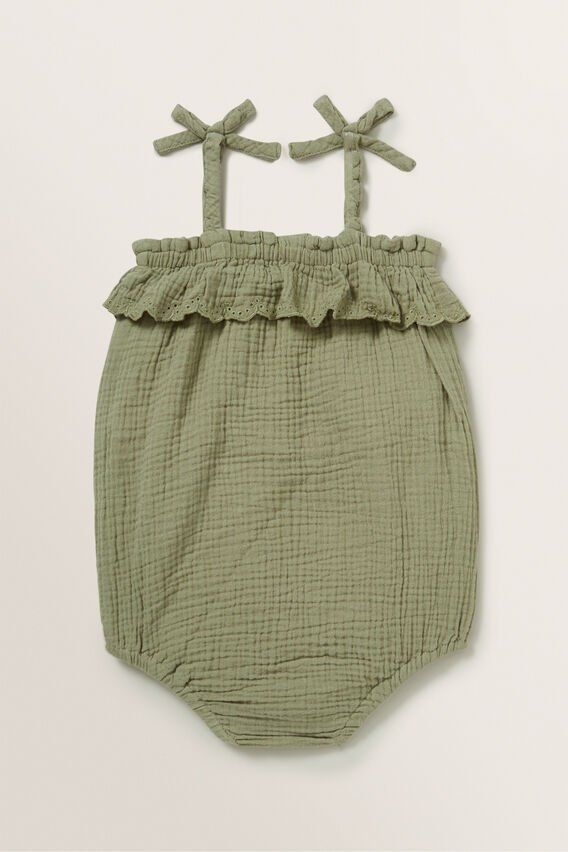 Cheesecloth Broderie Romper  PALE KHAKI  hi-res
