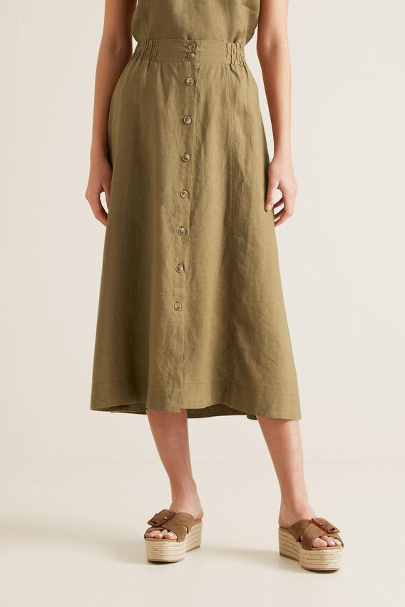 Linen Flowing Skirt  RICH MOSS  hi-res