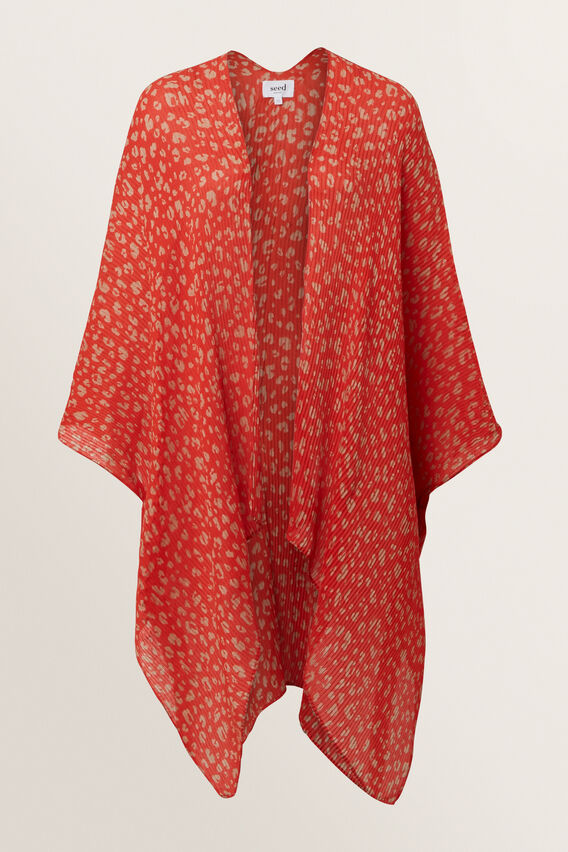 Pleated Summer Poncho  BOLD POPPY  hi-res