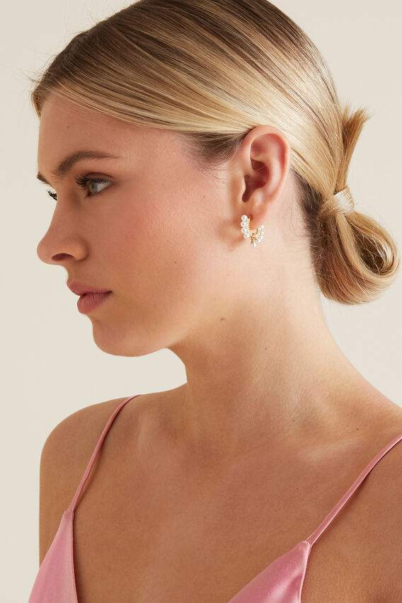 Small Tier Pearl Earring  GOLD  hi-res