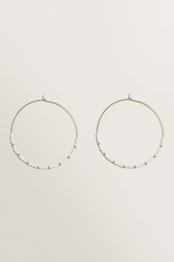 Fine Bead Hoops  WHITE  hi-res