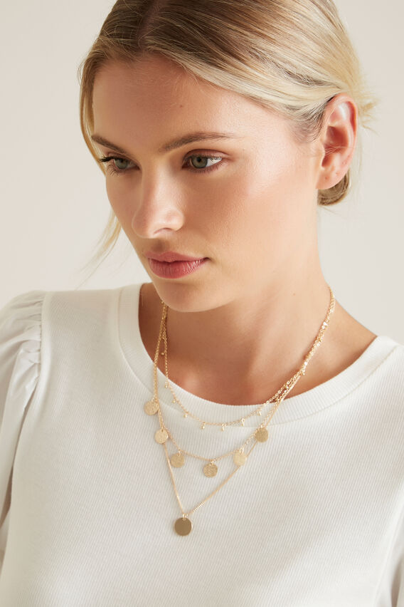 Trio Layered Necklace  GOLD  hi-res