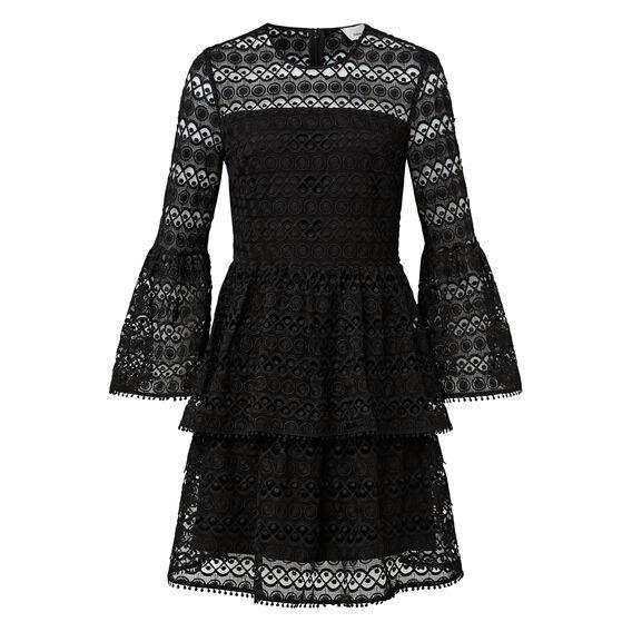 Bell Sleeve Broderie Dress  BLACK  hi-res