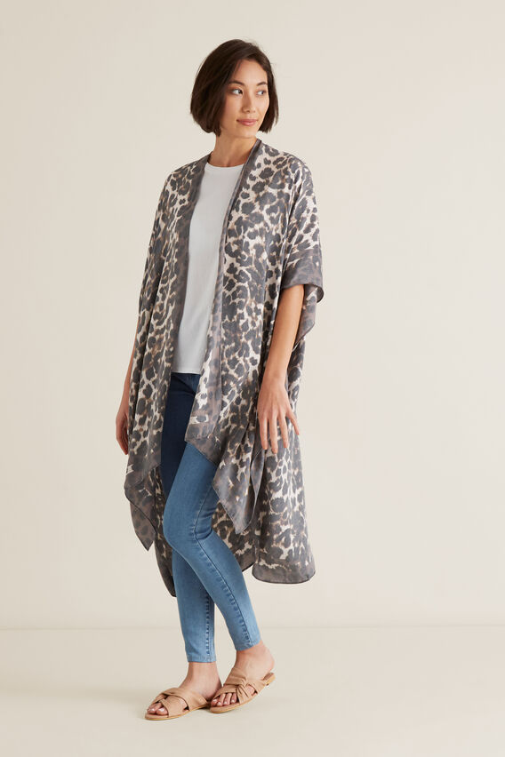 Washed Look Poncho  LIGHT CHOCOLATE  hi-res