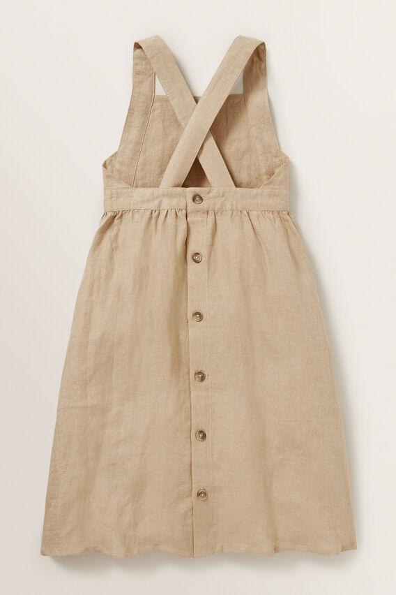 Linen Pocket Pinafore Dress  WARM TAN  hi-res