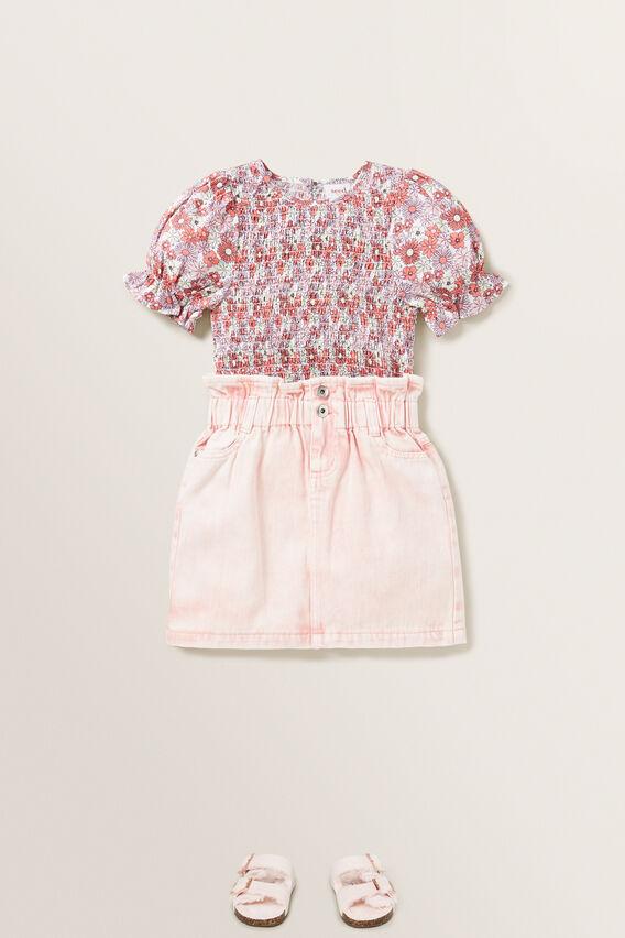 Paperbag Denim Skirt  ROSE ACID WASH  hi-res