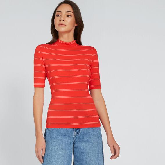 High Neck Stripe Tee  FIERY RED/CREAM  hi-res