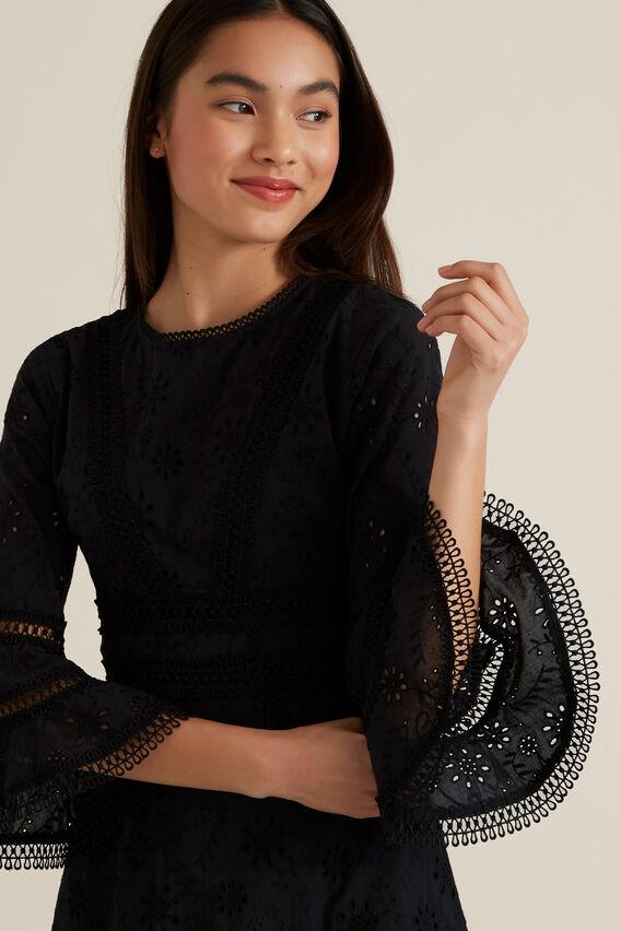 Broderie Bell Sleeve Dress  BLACK  hi-res