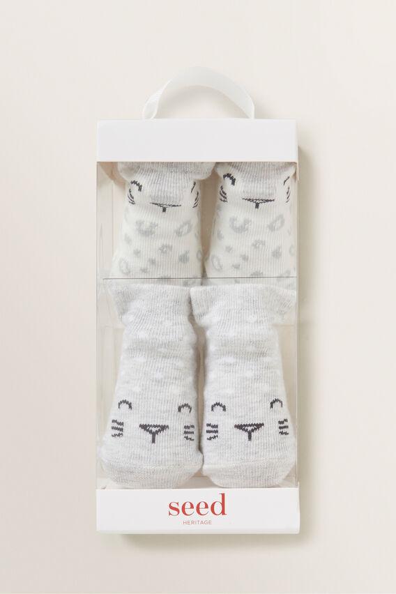 Leopard Socks  GREY MARLE  hi-res