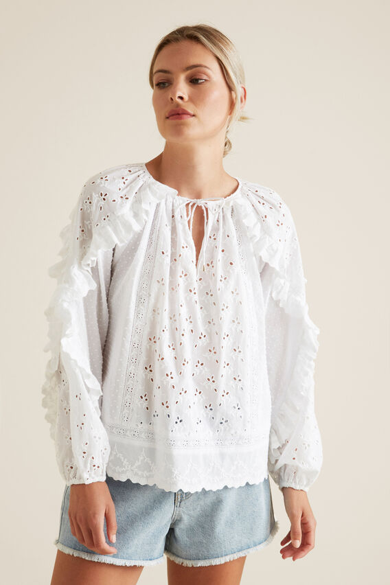 Pretty Broderie Blouse  WHISPER WHITE  hi-res