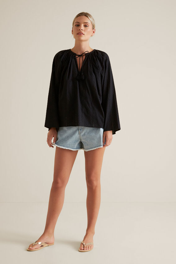 Floaty Dobby Blouse  BLACK  hi-res