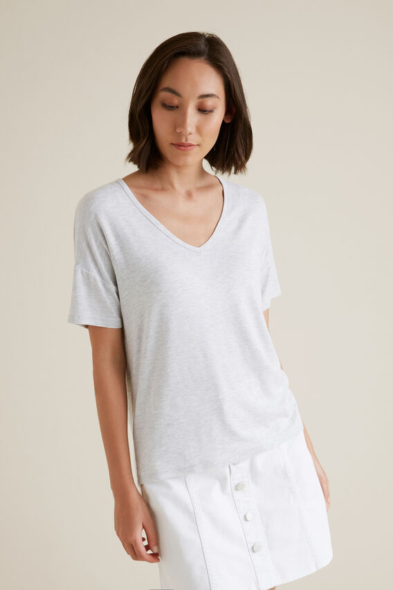 V Neck Tee  LIGHT GREY MARLE  hi-res