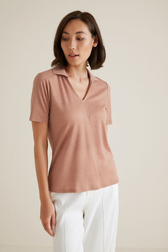 Collared Linen Rib Top  MOCHA MOUSSE  hi-res