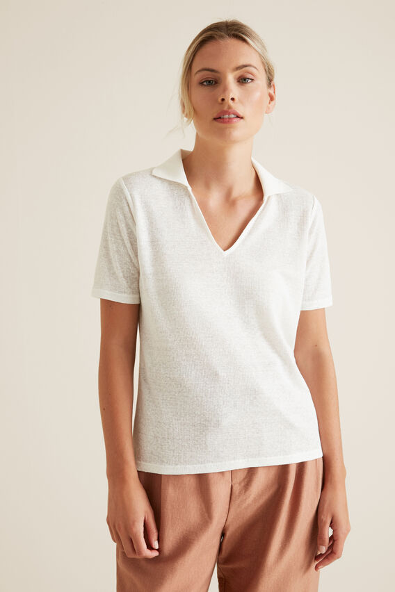 Collared Linen Rib Top  CLOUD CREAM  hi-res