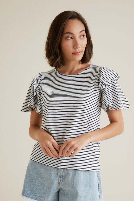 Flutter Sleeve Stripe Top  BLACK STRIPE  hi-res