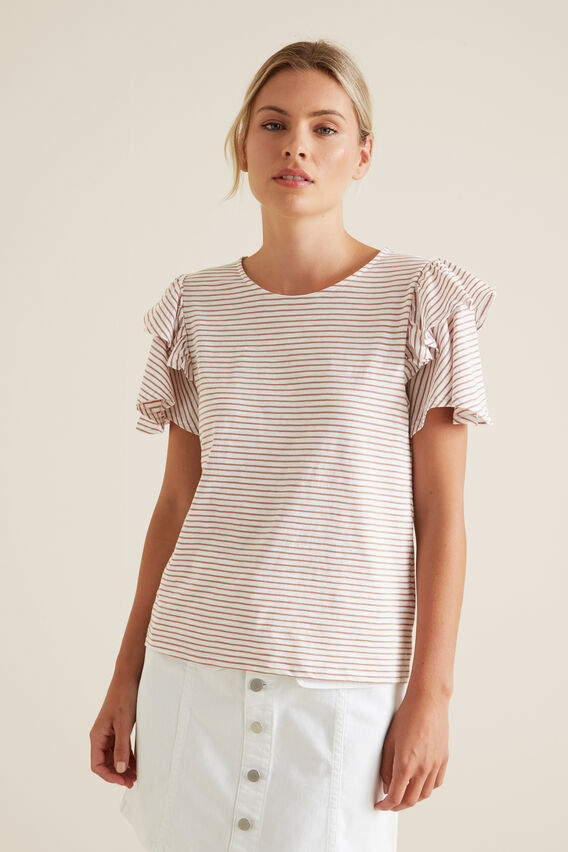 Flutter Sleeve Stripe Top  MOCHA STRIPE  hi-res