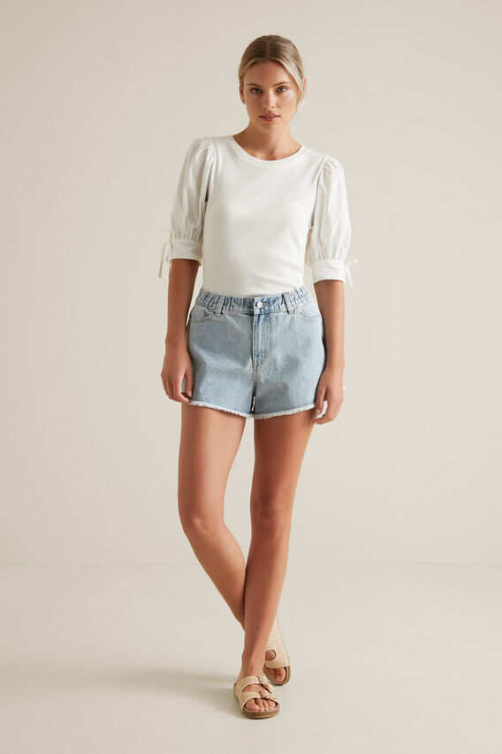 Puff Tie Sleeve Top  CLOUD CREAM  hi-res