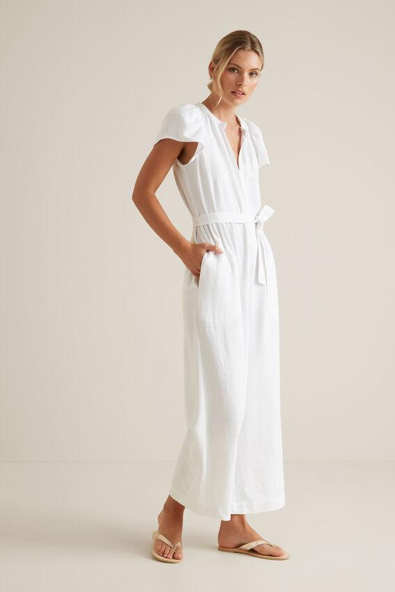 Frill Sleeve Jumpsuit  WHISPER WHITE  hi-res