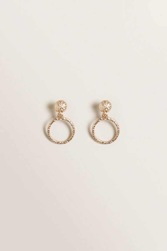 Circle Hammered Hoops  GOLD  hi-res