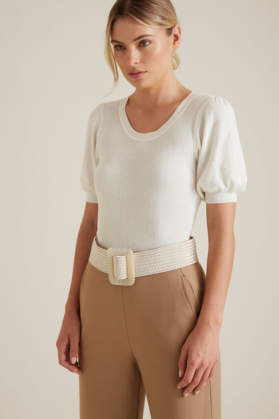 Horn Buckle Waist Belt  CREAM  hi-res